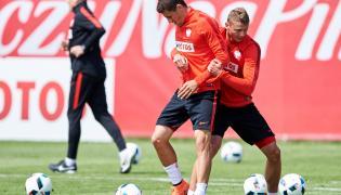 Paweł Wszołek (C) i Paweł Dawidowicz (P) podczas treningu kadry w Jastarni,