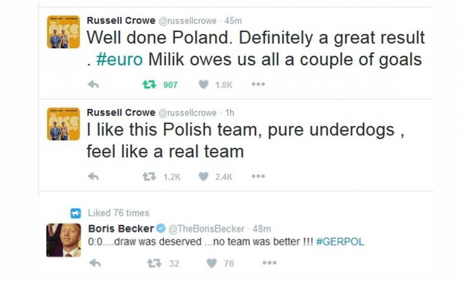 Russell Crowe i Boris Becker na Twitterze o meczu Niemcy - Polska