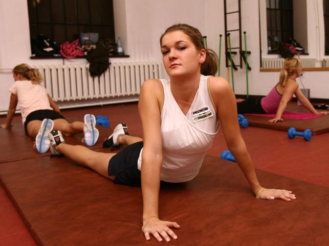 Oprócz tereningów na korcie Agnieszkę można spotkać na sali gimnastycznej