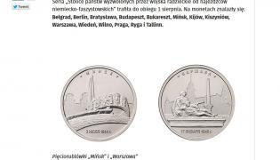 Kontrowersyjne monety pięciorublowe upamiętniające zdobycie przez Armię Czerwoną europejskich stolic (źródło: Belsat.eu)
