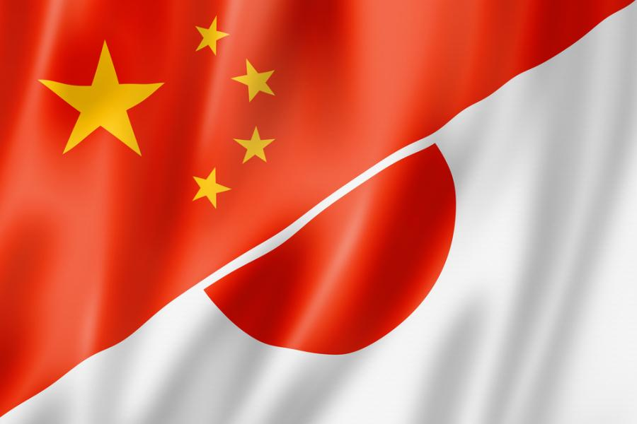 Flaga Chin i Japonii