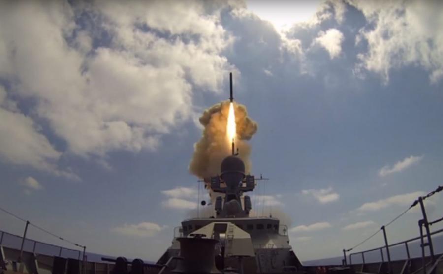 Odpalenie pocisków manewrujących z rosyjskiego okrętu