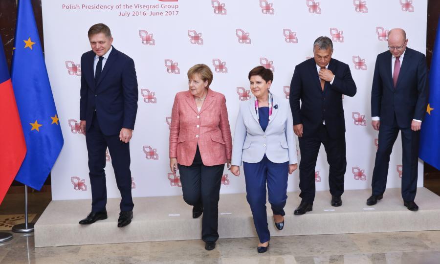 Beata Szydło, Angela Merkel, Robert Fico, Viktor Orban, Bohuslav Sobotka