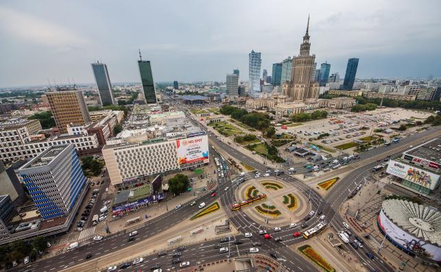 Centrum Warszawy. Pałac Kultury i Nauki w tle