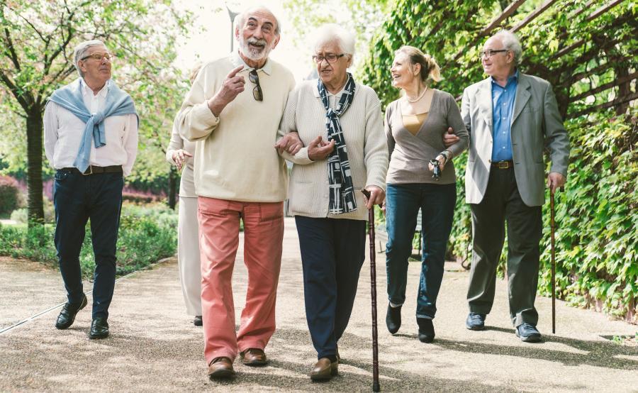 Grupa seniorów spaceruje