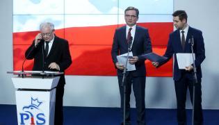 Prezes PiS Jarosław Kaczyński, minister sprawiedliwości i prokurator generalny Zbigniew Ziobro oraz wiceminister sprawiedliwości Patryk Jaki
