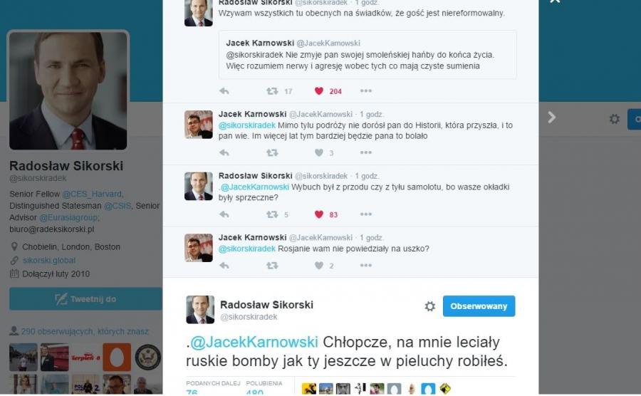 Wymiana Tweetów Radosława Sikorskiego z Jackiem Karnowskim