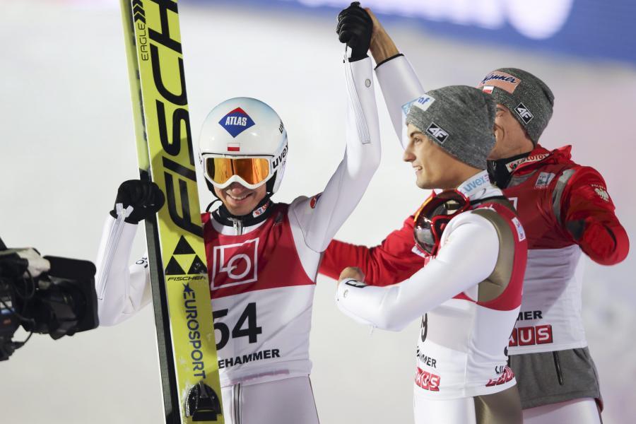 Kamil Stoch, Maciej Kot i Dawid Kubacki