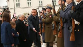 Jarosław Kaczyński i Andrzej Duda przed Pałacem Prezydenckim