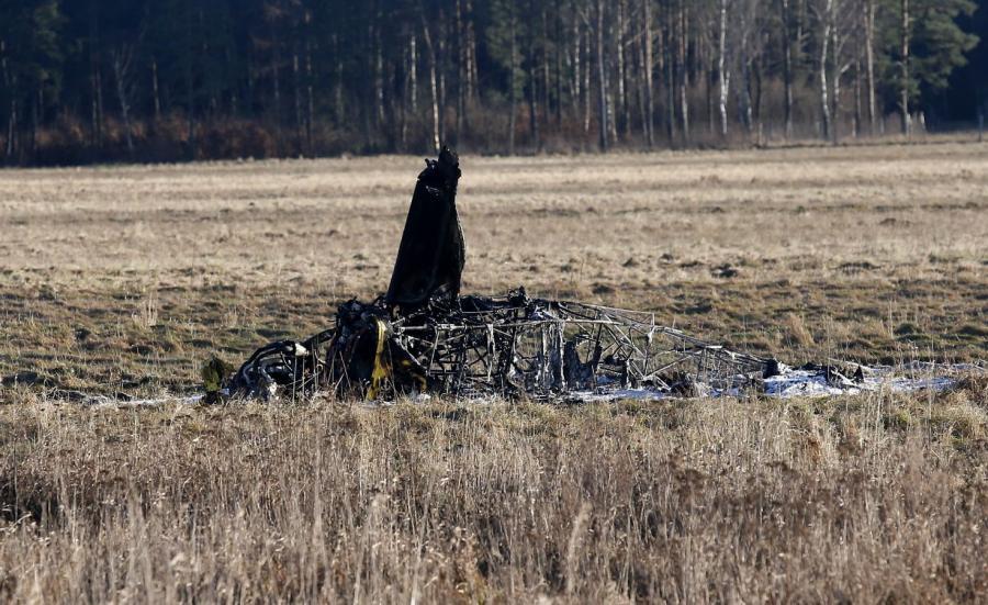 Miejsce wypadku na lotnisku w Zegrzu Pomorskim