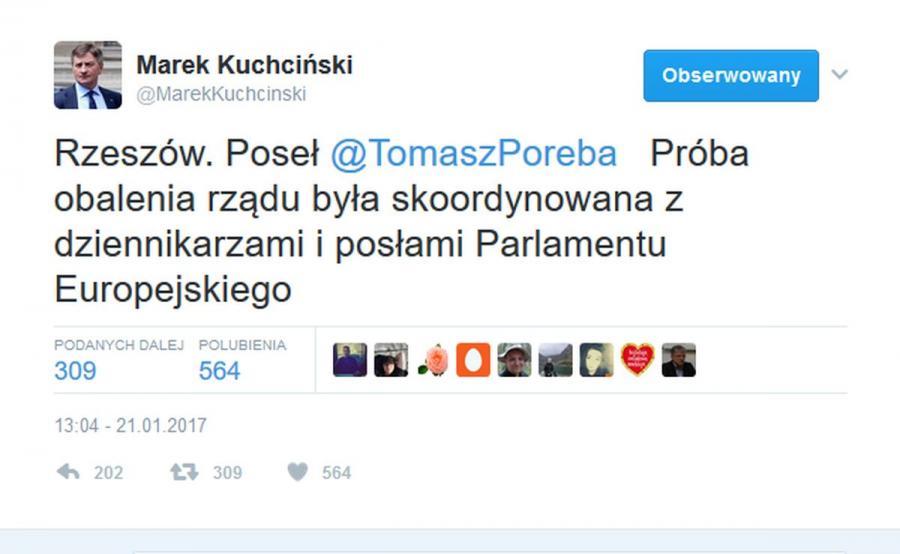 Tweet Marka Kuchcińskiego