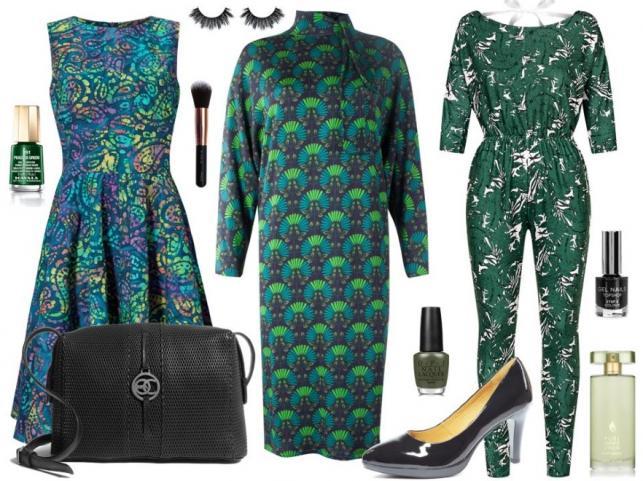 STYLIZACJE w kolorze butelkowej zieleni: Sukienka bez rękawów - Jelonek/jelonek.pl, sukienka z rękawami – Bialcon/bialcon.pl, kombinezon – Mosquito/mosquito-sklep.pl, torebka – Boca/boca.pl, buty – Caprice/caprice.pl, akcesoria – TKMAXX/tkmaxx.pl