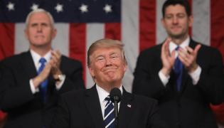 Prezydent Donald Trump podczas wystąpienia na wspólnej sesji obu izb amerykańskiego Kongresu.
